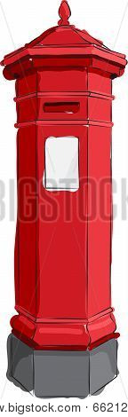 Sketched Red Postbox