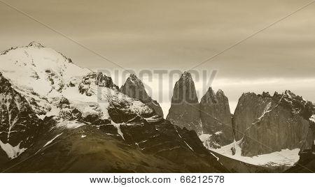 Torres Del Paine Peaks. Chile. Patagonian Landscape
