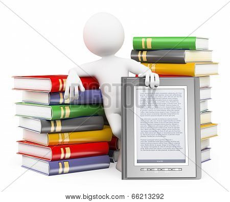 3D White People. Ebook Reader Concept