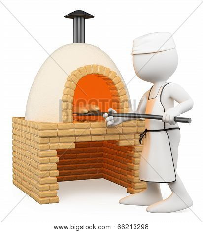 3D White People. Baker Making Bread In The Oven