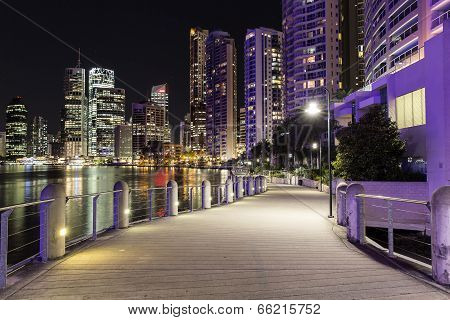 Brisbane cityscape river walk by night