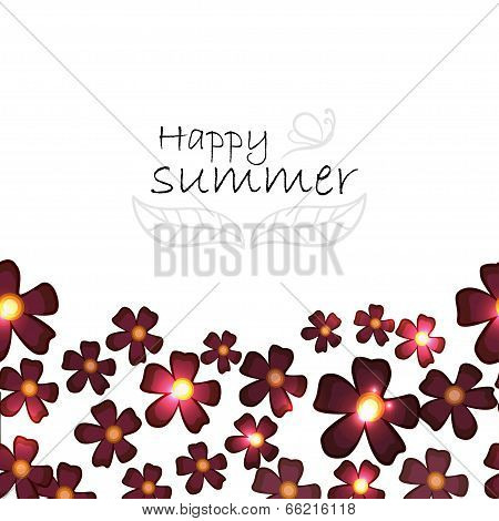 Vector Summer Background With Burgundy Flowers