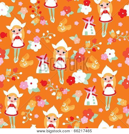 Seamless dutch cheese girl windmill and tulips illustration background pattern in vector