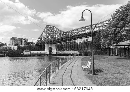 Brisbane Story Bridge from Captain Burke Park - Black & White
