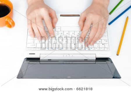 Hands Typing On Computer