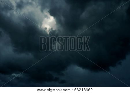 Illustration of dark heavy rainclouds at night