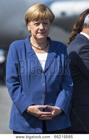 BERLIN, GERMANY - MAY 20, 2014: German Chancellor Angela Merkel open up the International aviation and space exhibition ILA.