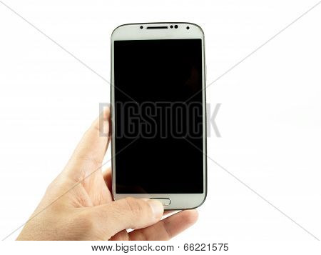 Hand Holding A Modern White Smartphone
