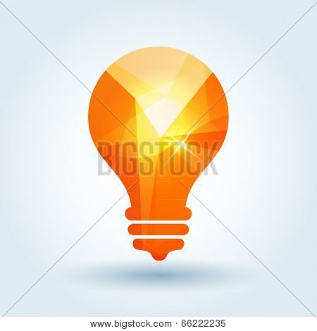 Idea icon with modern triangle pattern