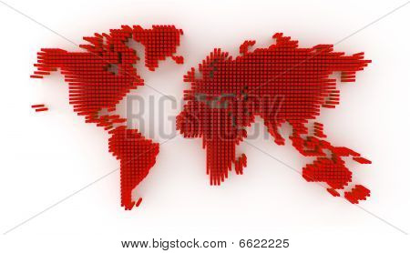 World map red