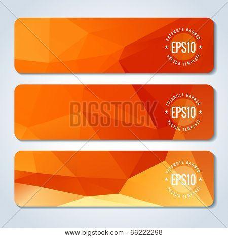 Orange website header or banner set template of triangle pattern