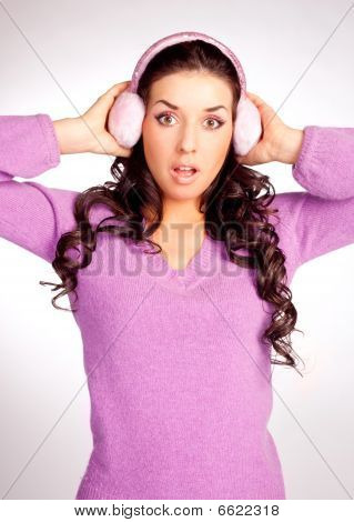 Surprised  Girl With Earmuff