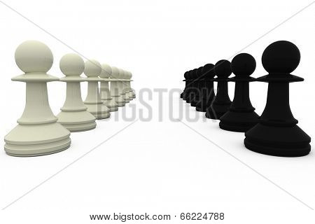 Black and white pawns facing off on white background