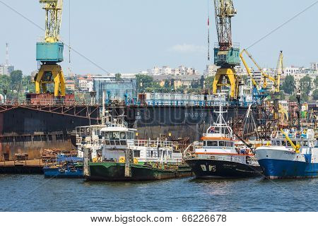 Docked Tugboats
