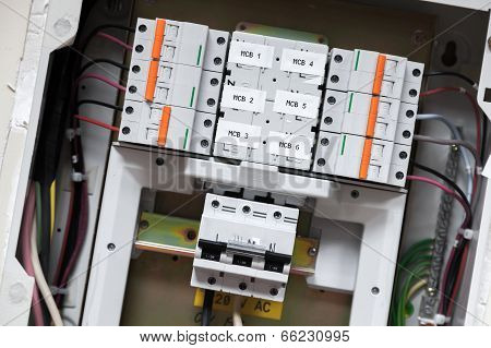 Electrical Panel With Automatic Circuit Breakers And Wires