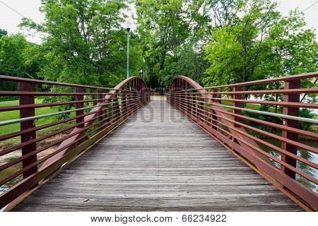 Walking bridge in park on riverfront in Columbus Georgia
