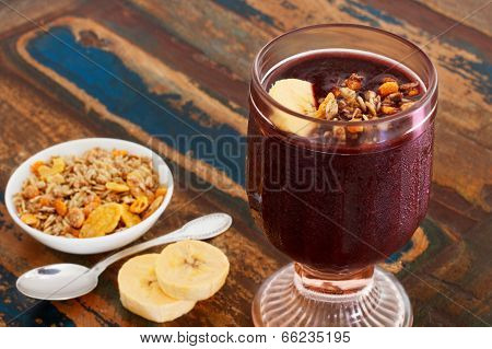 Acai In Glass With Muesli Banana