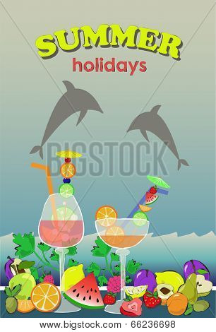 summer background with cocktails