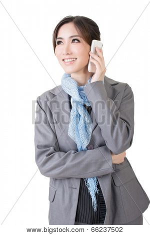 Asian business woman use cellphone. Isolated on the white background.