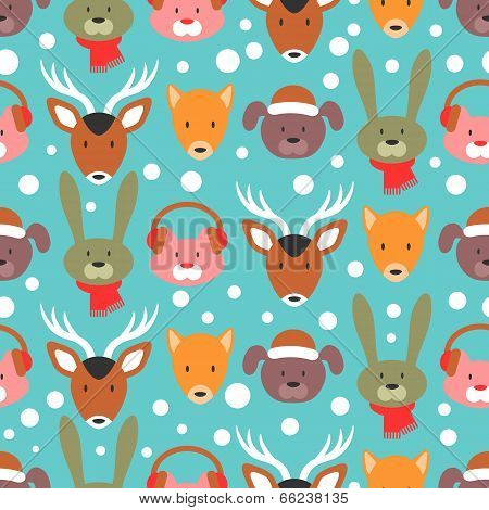 Winter Seamless Pattern With Adorable Animal Faces
