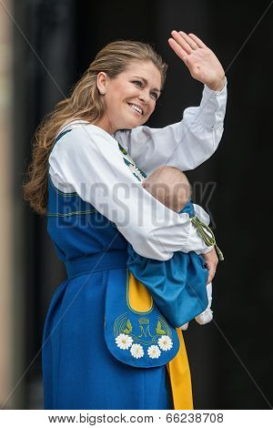 Princess Madeleine Of Sweden With Princess Leonore Waving To The Public After The Cermony Of Opening