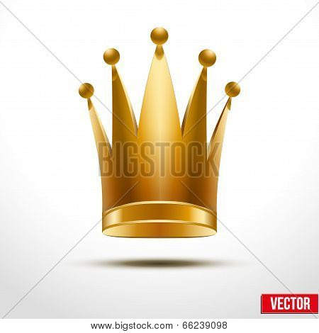 Gold classic royal Crown of Queen or Princess.