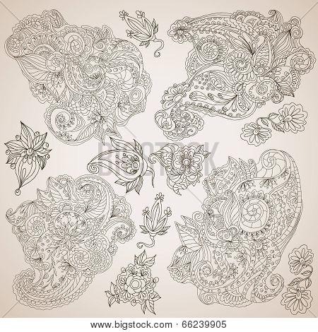 Ornamental decorative elements set