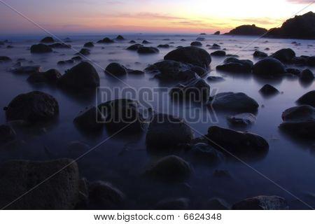 Malibu Lowtide At Sunset
