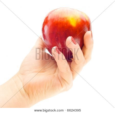 fruit of an apple in his hand a woman isolated on white