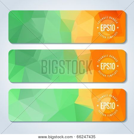 Orange green website header or banner template set with triangle pattern