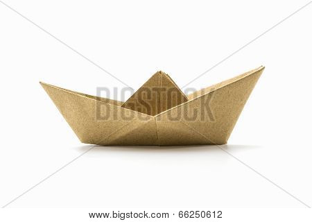 Paper Origami Brown Boat .