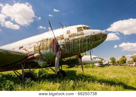 Samara, Russia - May 25, 2014: Old Russian Turboprop Aircraft At An Abandoned Aerodrome In Summertim