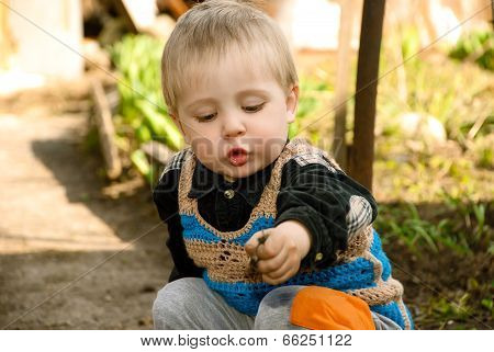 Little Boy Sitting In The Garden.