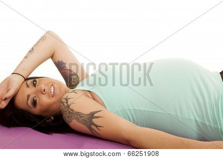 Pregnant Woman Fitness Lay Blue Look