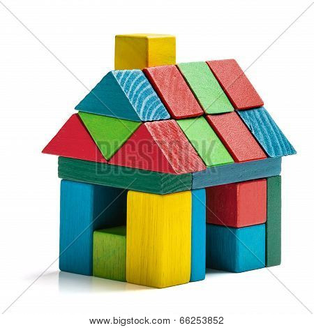 House Toy Blocks Isolated White Background, Little Wooden Home