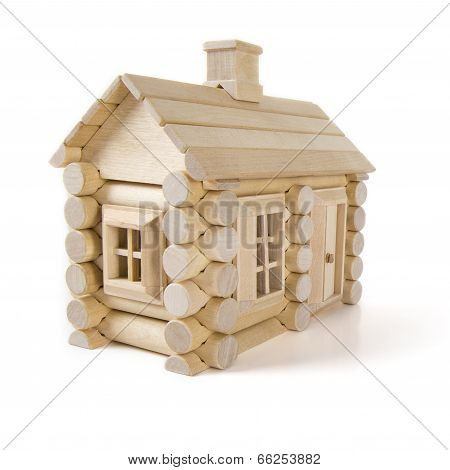 Toy Wooden House Isolated On White, Little Cottage Home Of Wood Timber