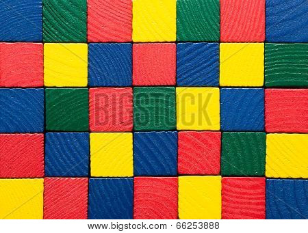Toys Blocks, Painted Wooden Square Bricks, Color Building Game Pieces