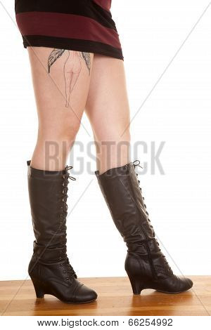 Woman Legs Side Boots Tattoo