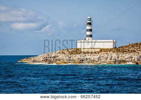 Lighthouse On Isla De Es Penjats Near Ibiza, Balearic Islands, Spain