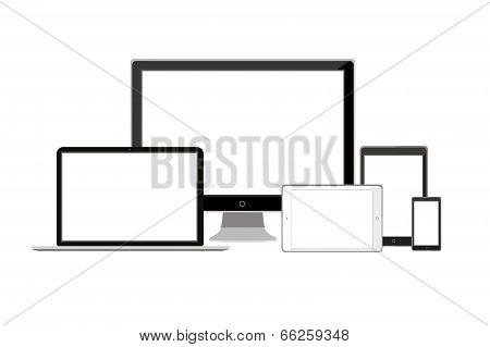 laptop, monitor, tablet and phone