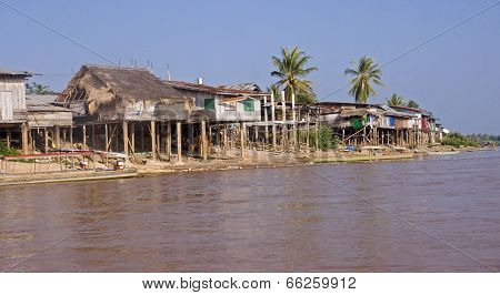 Cottages On The Banks Of The Mekong River