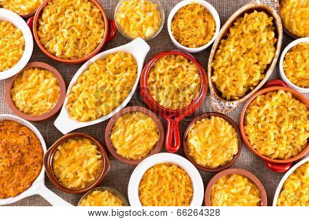 Cheese Macaroni Served Conceptually On Table Cloth