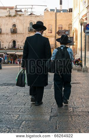Orthodox Jewish Father & Son In Jerusalem