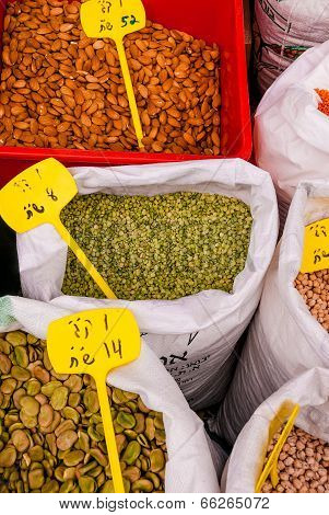 Spices, Pulses And Seeds At Market In Jerusalem