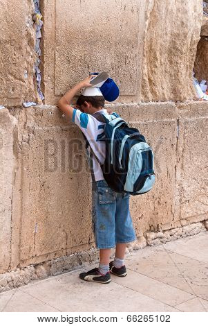 Boy Praying At Western Wall, Jerusalem, Israel