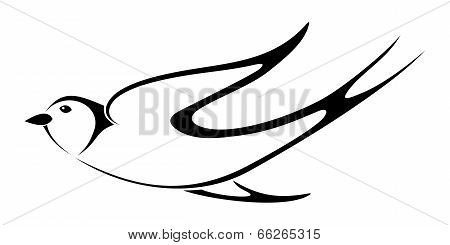 Black silhouette of swallow. Vector illustration.