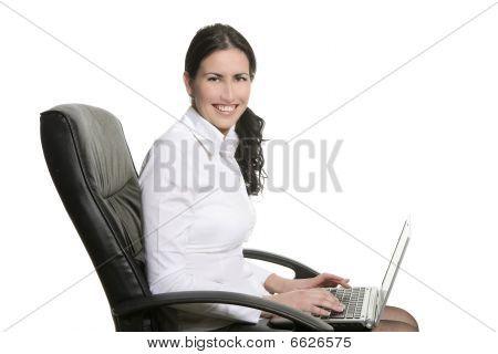 Brunette Business Woman Typing Sit Laptop