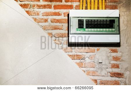 Layer Construction Wall Building With Brick Wall,cement And Electric Miter Boxet And Pipe For Electr
