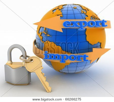 Lock with key and globe on white background. Secure concept of international business. 3d illustration on white background