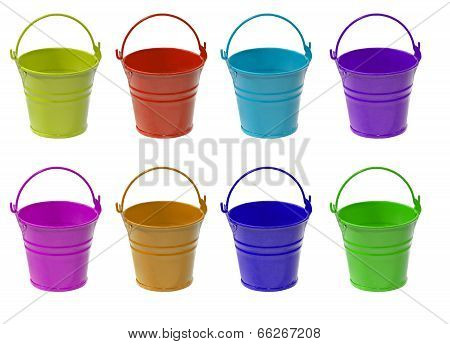 Set Of Multicolored Empty Buckets.isolated.